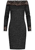 Styleboom Fashion Damen Off-Shoulder Bodycon Spitzen Kleid schwarz melange