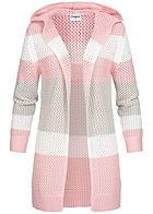 Seventyseven Lifestyle Damen Striped Knit Cardigan Colorblock rosa grau weiss