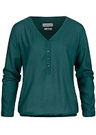 Eight2Nine Damen Turn-Up V-Neck Bluse Knopfleiste deep teal dunkel grün