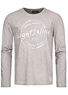 Eight2Nine Herren Melange Longsleeve Logo Print dawn grau