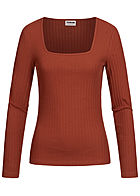 Noisy May Damen Bodycon Longsleeve Struktur-Stoff burnt henna braun