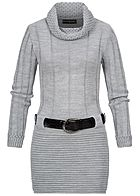 Styleboom Fashion Damen Turtle-Neck Strickkleid inkl. Gürtel hell grau