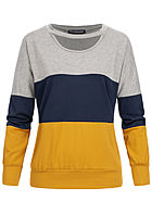 Styleboom Fashion Damen Colorblock Choker Sweater hell grau navy blau gelb