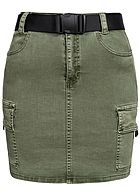 Hailys Damen Mini Cargo Jeans Rock inkl. Gürtel 4-Pockets khaki denim