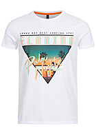 Stitch & Soul Herren T-Shirt Florida Print weiss