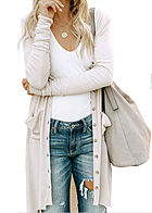 Styleboom Fashion Damen Longform Cardigan Knopfleiste 2-Pockets weiss