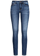 TOM TAILOR Damen Extra Skinny Jeans Hose 5-Pockets Low Waist clean medium blau denim