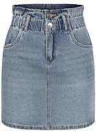 ONLY Damen Mini Paperbag Jeans Rock 2-Pockets High-Waist medium blau denim