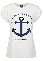 Fresh Tee Damen T-Shirt Live by the Sea Anker Print weiss