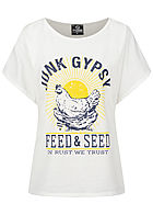 Styleboom Fashion Damen Oversized T-Shirt Junk Gypsy Print weiss