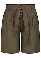 ONLY Damen Long Canvas Shorts inkl. Bindegürtel 2-Pockets Knopfleiste forest night oliv