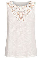 ONLY Damen Top mit Häkelbesatz cloud dancer weiss melange