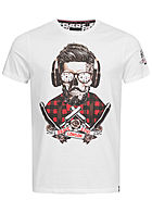 Brave Soul Herren T-Shirt Skulls Headphone Head Print weiss Head bronze