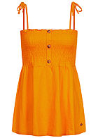 TOM TAILOR Damen Smocked Träger Top Deko Knopfleiste orange gelb