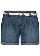 Eight2Nine Damen kurze Shorts 5-Pockets inkl. Flechtgürtel dunkel blau denim