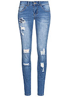 Seventyseven Lifestyle Damen Skinny Jeans Hose 5-Pockets Heavy Destroy Optik blau denim