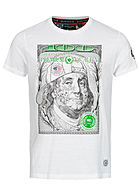 Brave Soul Herren T-Shirt Benjamin Franklin Dollar Print optic weiss