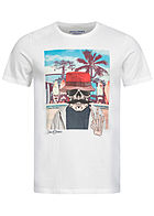 Jack and Jones Herren T-Shirt Skulls Print cloud weiss