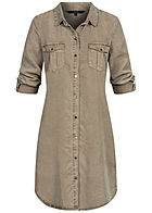 Vero Moda Damen Turn-Up Long Bluse Kleid 4-Pockets bungee cord oliv braun