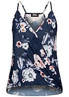 Fresh Lemons Damen V-Neck Krepp Top Wickeloptik Blumen Muster navy blau