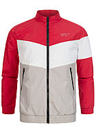 Hailys Herren Colorblock Arrow Trainingsjacke 2-Pockets rot grau weiss