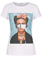 Hailys Damen T-Shirt Portrait Print weiss multicolor