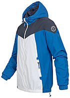 Sublevel Herren Colorblock Trainingsjacke mit Kapuze 2-Pockets lapis blau weiss