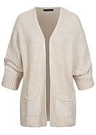 Styleboom Fashion Damen Oversized Strickcardigan 2-Pockets beige
