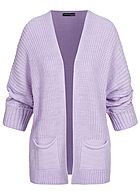 Styleboom Fashion Damen Oversized Strickcardigan 2-Pockets lila