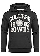 Eight2Nine Herren Sweat Hoodie Kapuze Kängurutasche College Rowdy Frontpatch schwarz weiss