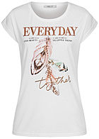 Hailys Damen T-Shirt EVERYDAY Pailletten Federn Print weiss