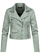 ONLY Damen kurze Biker Jacke Wildlederimitat 3-Pockets asymmetr. Zipper chinois grün
