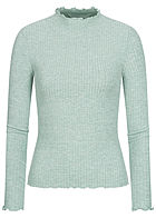 ONLY Damen NOOS Ribbed Frill Longsleeve Pullover chinois grün melange