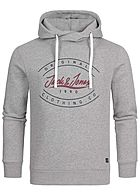 Jack and Jones Herren Sweat Hoodie überlappende Kapuze Logo Print hell grau melange