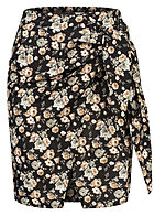 Fresh Lemons Damen Mini Wickelrock Blumen Print schwarz multicolor
