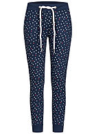 Eight2Nine Damen Sweatpants Stoffhose 4-Pockets Punkte & Herzen Rippbündchen navy blau