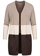 ONLY Damen NOOS Colorblock Viskose Cardigan 2-Pockets woodsmoke braun beige