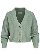 ONLY Damen V-Neck Strickcardigan mit Knopfleiste chinois grün