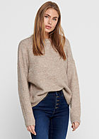 ONLY Damen Strickpullover Sweater Rippblenden am Saum woodsmoke beige melange