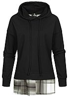 Styleboom Fashion Damen Backside All Over Checked Hoodie Karo Muster schwarz