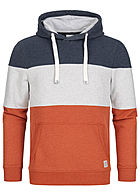 Tom Tailor Herren Colorblock Hoodie Kapuze Kängurutasche Tunnelzug ginger orange