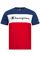 Champion Herren Colorblock T-Shirt Logo Print vorne navy weiss rot