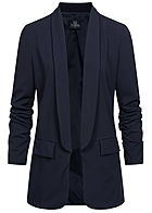 Styleboom Fashion Damen 3/4 Arm Longform Blazer 2 Deko Taschen navy blau