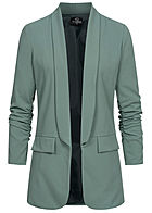 Styleboom Fashion Damen 3/4 Arm Longform Blazer 2 Deko Taschen chinois grün