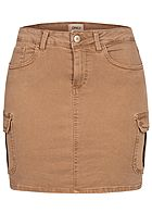 ONLY Damen NOOS Mini Cargo Jeans Rock 7-Pockets toasted coconut braun
