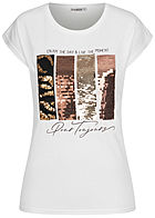 Seventyseven Lifestyle Damen T-Shirt mit Paillettenfront Enjoy-Live Print weiss
