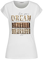Seventyseven Lifestyle Damen T-Shirt mit Paillettenfront DREAM weiss gold kupfer