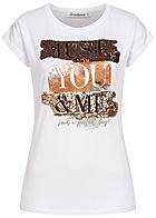 Seventyseven Lifestyle Damen T-Shirt just you and me Print mit Paillettenfront weiss gold