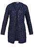 JDY by ONLY Damen Cardigan STACY 15102354 2 Taschen Fell Optik mood indigo blau