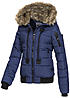 Eight2Nine Damen Winter Jacke Kapuze mit abnehmb Kunstfell by Sublevel insignia blau